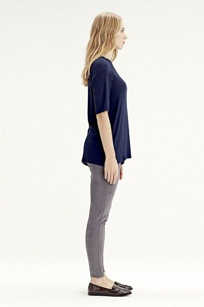 Mizalle - Short-Sleeved T-Shirt (Navy Blue) (1)