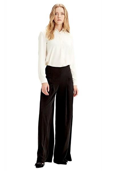 Mizalle Pileli Pantolon (Siyah)