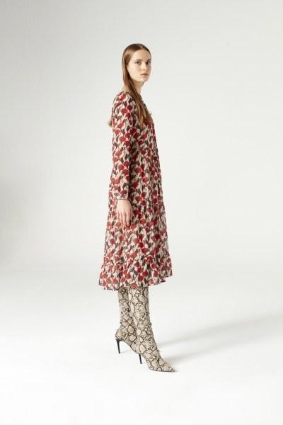 Mizalle Kuş Gözü Detaylı Elbise (Bej)
