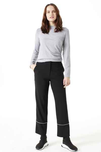 Mizalle Çizgi Paçalı Pantolon (Siyah)