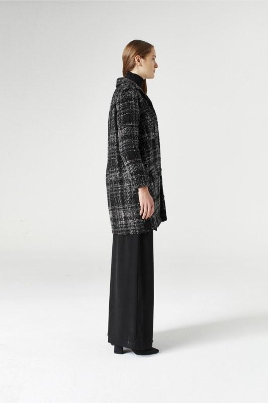 Simli Ekose Uzun Ceket (Gri)