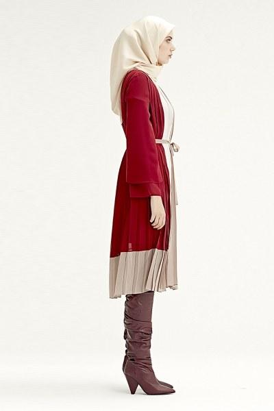 Üç Renkli Piliseli Elbise (Bordo) - Thumbnail