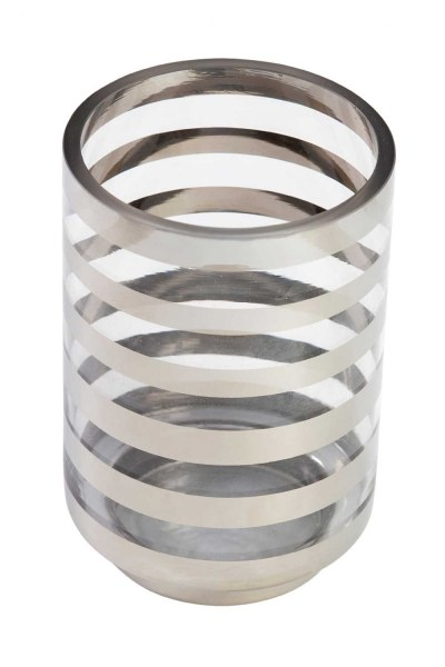 Mizalle Home Silver Striped Candle Holder (Large)