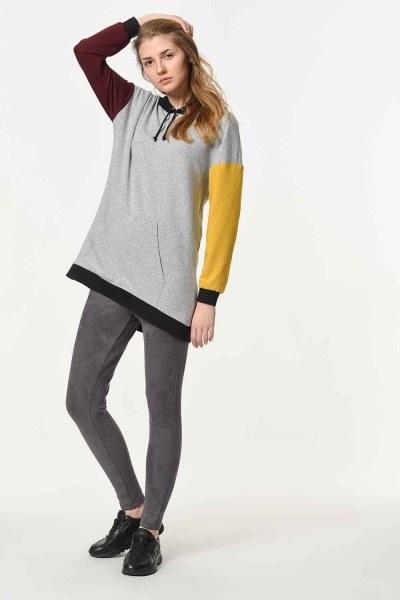 Renk Parçalı Kapüşonlu Sweatshirt (Mix) - Thumbnail
