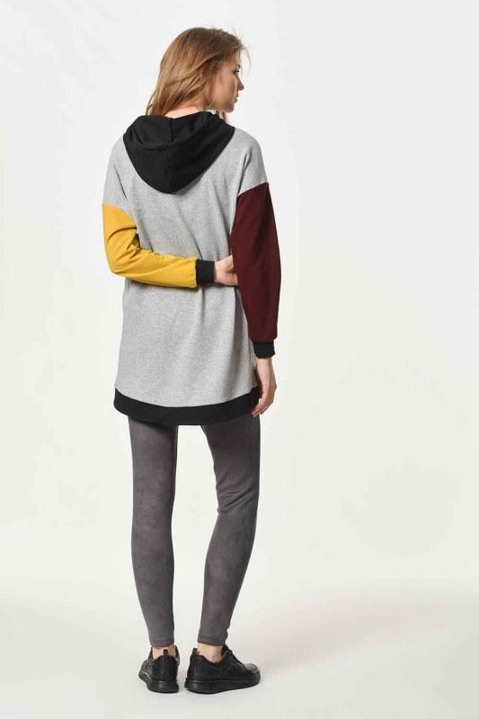 Renk Parçalı Kapüşonlu Sweatshirt (Mix)