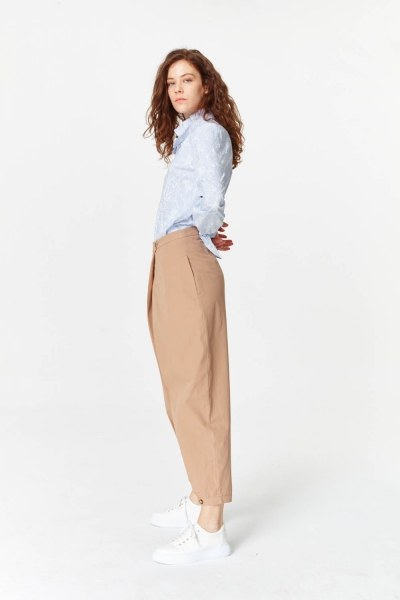 Asymmetric Detailed Trousers (Camel) - Thumbnail