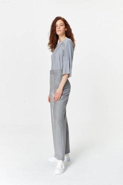 Elastik Bel Detaylı Pantolon (Gri) - Thumbnail