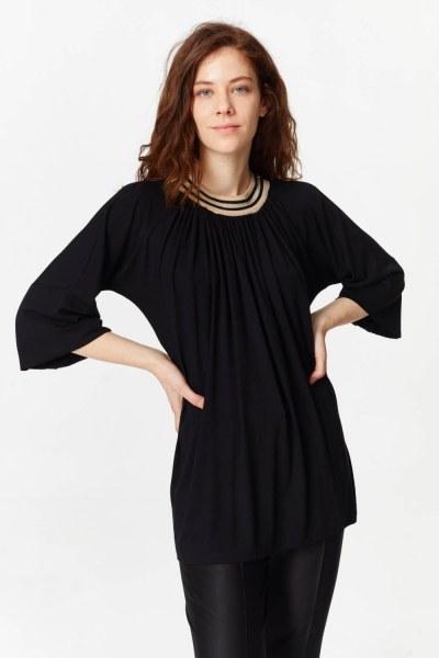 Mizalle Knit Collar T-Shirt (Black)