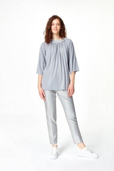Mizalle - Yakası Ribanalı T-Shirt (Gri) (1)