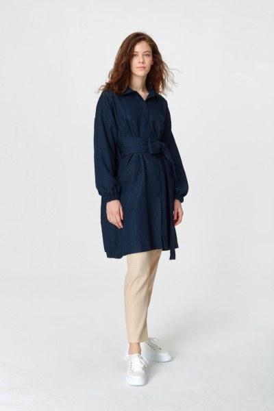 Mizalle Jakar Desenli Kuşaklı Tunik Elbise (Lacivert)