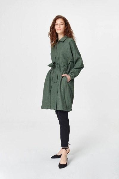 Mizalle Jakar Desenli Kuşaklı Tunik Elbise (Haki)