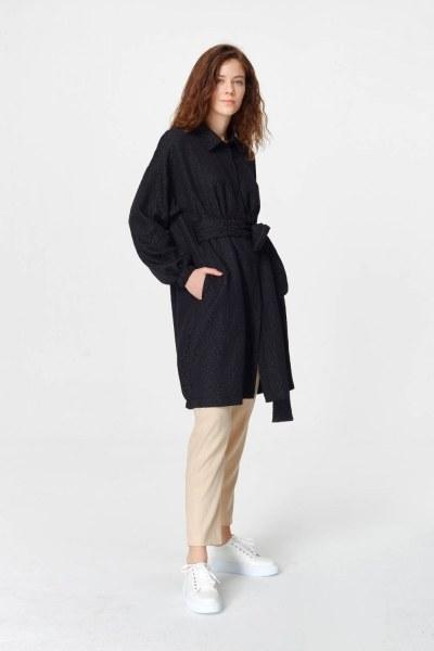 Mizalle Jakar Desenli Kuşaklı Tunik Elbise (Siyah)