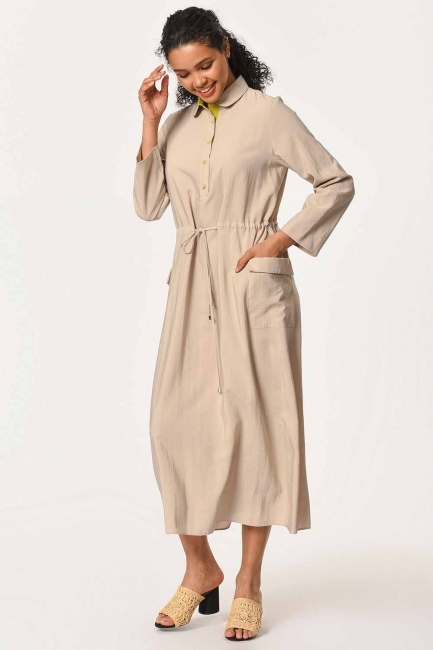 Bag Pocket Long Dress (Beige) - Thumbnail