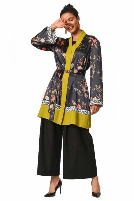 Mizalle - Three-Piece Patterned Kimono (Black/Green) (1)