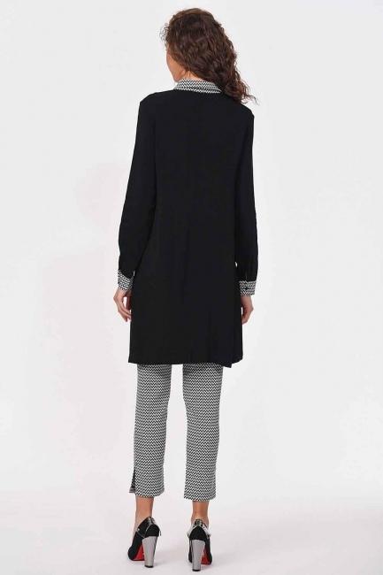 Yaka Manşet Desenli Tunik Gömlek (Siyah) - Thumbnail
