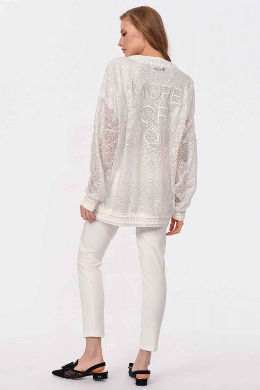 Güpür Dantelli Bomber Ceket (Beyaz)