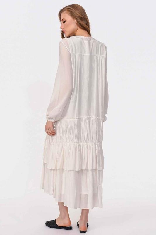 Kat Detaylı Uzun Elbise (Ekru)