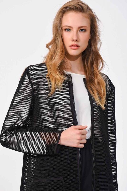 File Fermuarlı Ceket (Siyah)