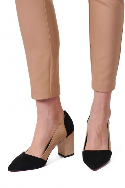 Mizalle - حذاء من جلد الغزال بلونين (أسود / بيج) (1)