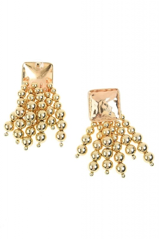 Pearl Detailed Dangling Earrings (Yellow)
