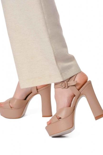 Mizalle - أحذية جلدية مفتوحة من الامام مزدوجة (بِيج) (1)