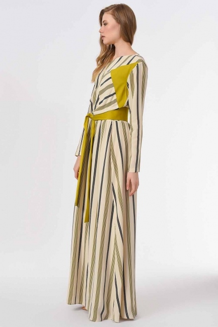 Striped Piece Long Dress (Ecru/Green) - Thumbnail