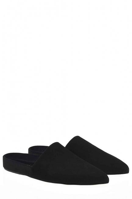 Mizalle - Süet Premium Terlik Deri Ayakkabı (Siyah) (1)
