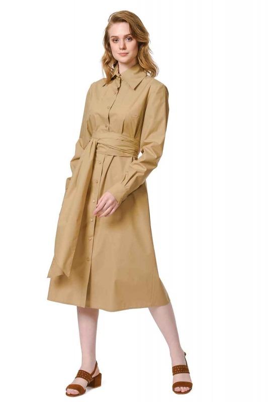 فستان القميص برباط بالخصر (اللون البيج)
