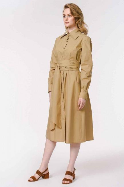 فستان القميص برباط بالخصر (اللون البيج) - Thumbnail