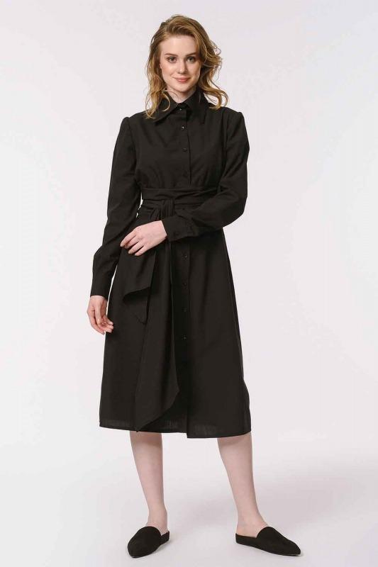 فستان القميص برباط بالخصر (أسود)