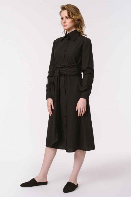 فستان القميص برباط بالخصر (أسود) - Thumbnail
