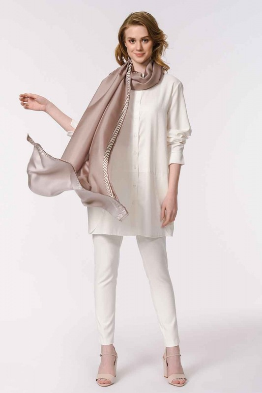 Patterned Silk Shawl (Mink Color)