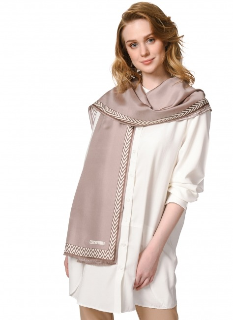 Patterned Silk Shawl (Mink Color) - Thumbnail