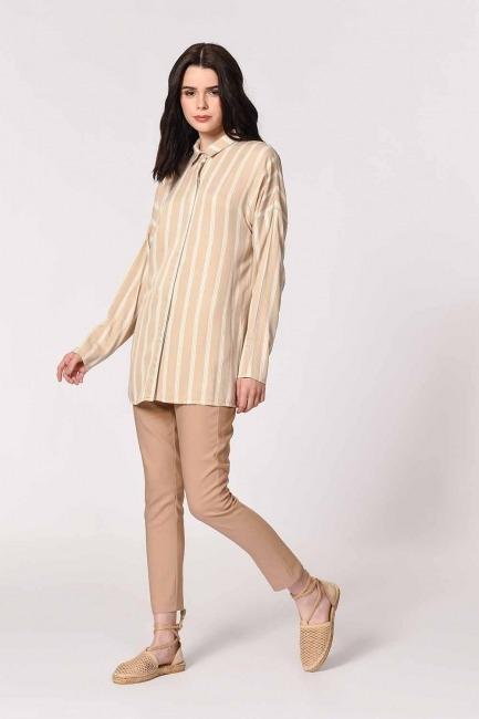 Mizalle Comfy Shirt (Ecru-Beige)