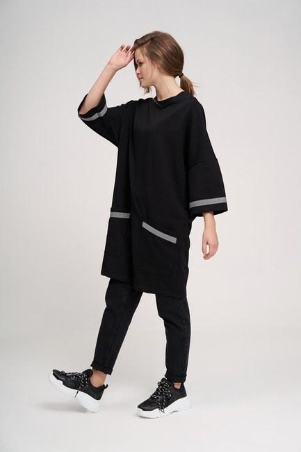 Mizalle Youth Over Uzun Sweatshirt (Siyah)