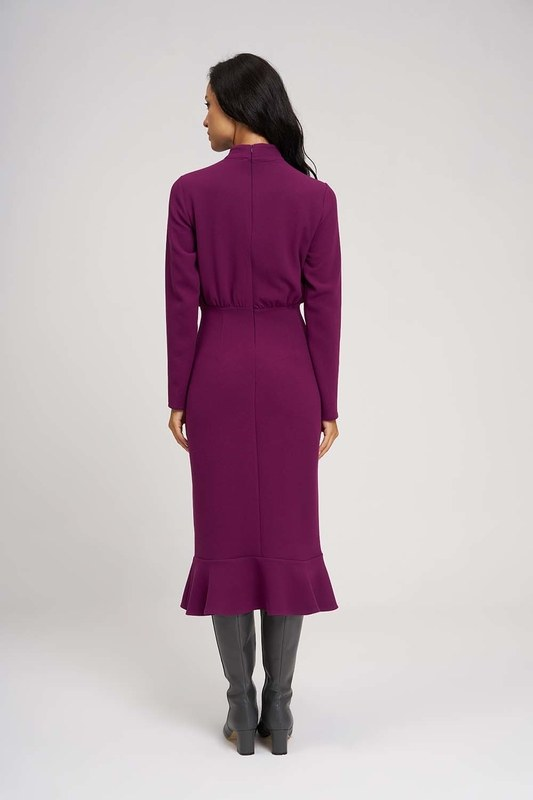 Beli Büzgülü Elbise (Mor)