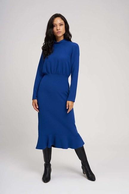 Mizalle Beli Büzgülü Elbise (Saks)