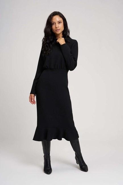 Mizalle Beli Büzgülü Elbise (Siyah)