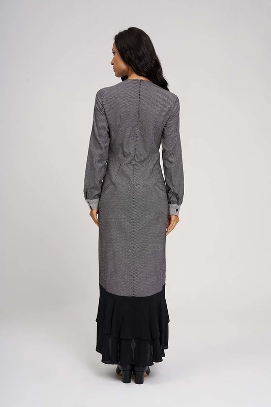 Eteği Volanlı Parçalı Elbise (Siyah/Beyaz)