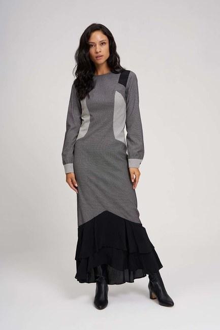 Eteği Volanlı Parçalı Elbise (Siyah/Beyaz) - Thumbnail