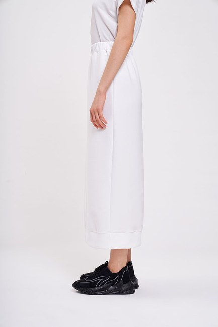 MIZALLE - 3 Yarn Basic Skirt (Ecru) (1)