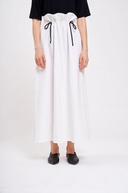 Mizalle - 3 Yarn Pleated Skirt (Ecru) (1)