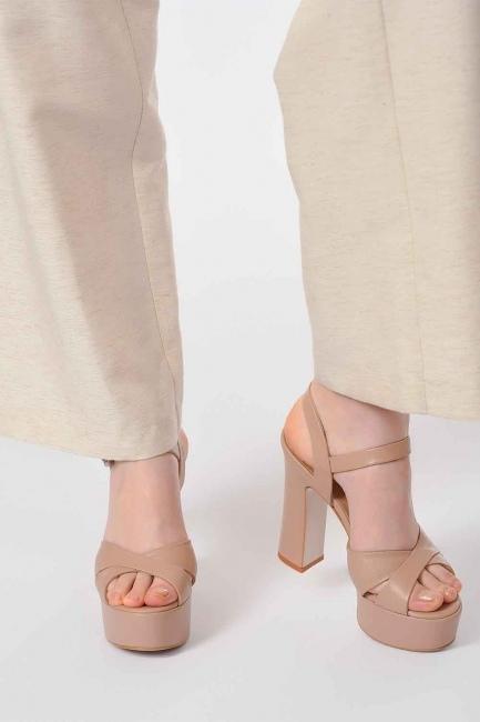Mizalle - Açık Burun Çift Platform Deri Ayakkabı (Bej)