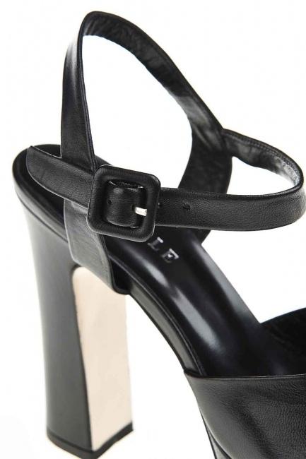 Açık Burun Çift Platform Deri Ayakkabı (Siyah) - Thumbnail