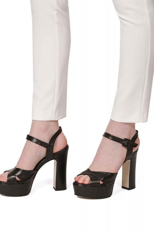Açık Burun Çift Platform Deri Ayakkabı (Siyah)