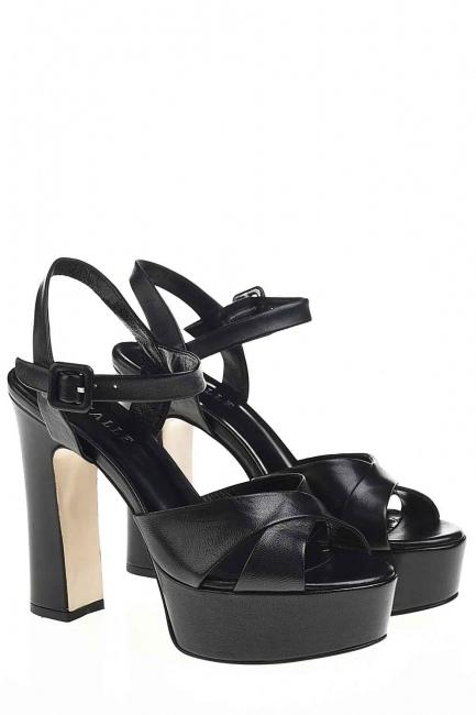 MIZALLE Açık Burun Çift Platform Deri Ayakkabı (Siyah)