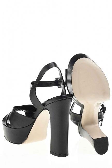 Double Platform Leather Shoes (Black) - Thumbnail