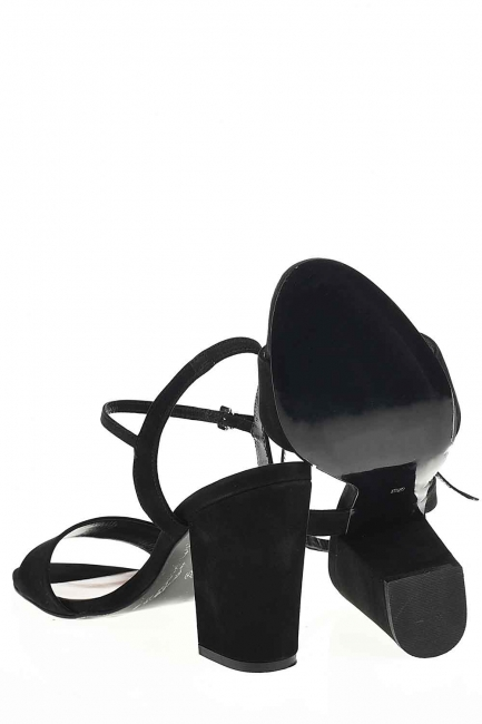 Açık Burun Tokalı Ayakkabı (Siyah) - Thumbnail