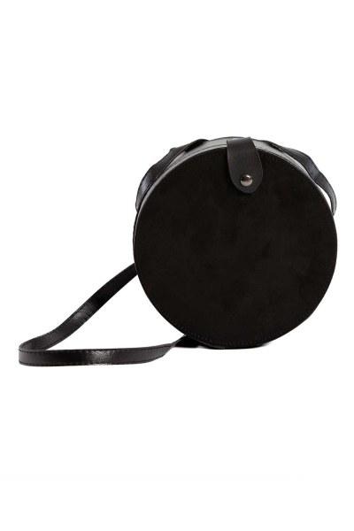 غطاء منسدل ، حقيبة كتف دائرية (أسود) - Thumbnail
