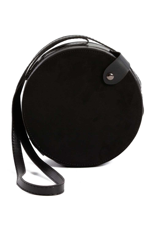 MIZALLE غطاء منسدل ، حقيبة كتف دائرية (أسود) (1)